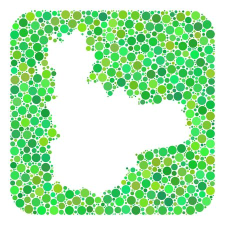 Map of Valladolid Province collage designed with rounded rectangle and cut out shape. Vector map of Valladolid Province collage of filled circles in different sizes and green shades. Ilustración de vector