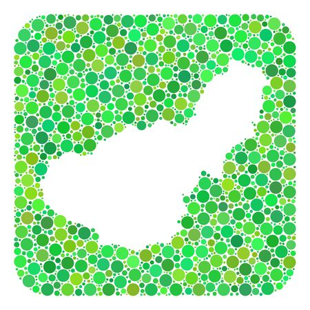 Map of Granada Province mosaic created with rounded rectangle and stencil. Vector map of Granada Province mosaic of filled circles in various sizes and green color tints. Ilustración de vector