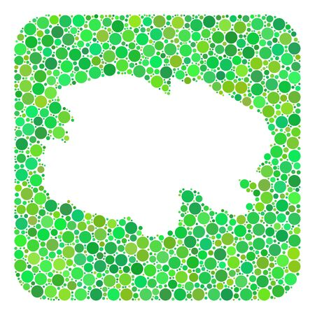 Map of Qinghai Province mosaic created with rounded rectangle and subtracted space. Vector map of Qinghai Province mosaic of round items in various sizes and green color tones.