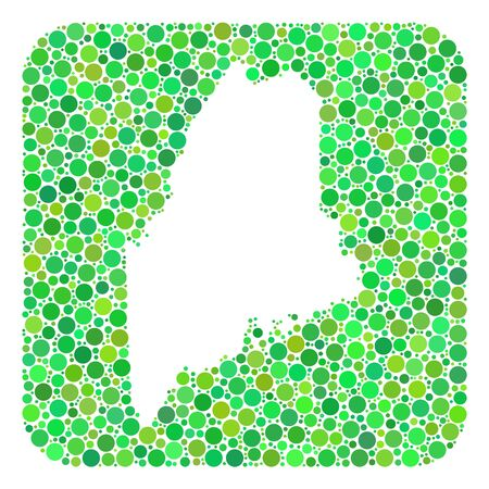 Map of Maine State mosaic created with rounded rectangle and cut out shape. Vector map of Maine State mosaic of circle elements in various sizes and green color tints.