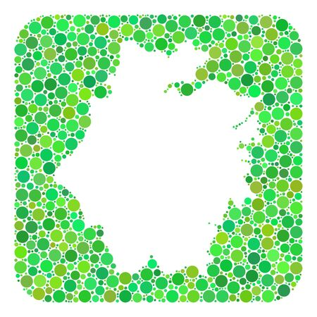 Map of Zhejiang Province collage composed with rounded rectangle and stencil. Vector map of Zhejiang Province collage of spheric dots in various sizes and green color hues. Ilustrace