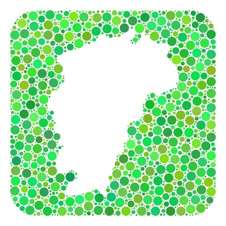 Map of Jiangxi Province mosaic designed with rounded rectangle and stencil. Vector Map of Jiangxi Province composition of dots in different sizes and green color hues.