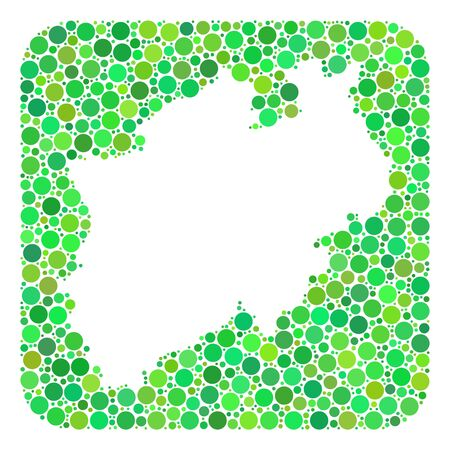 Map of North Rhine-Westphalia State mosaic designed with rounded rectangle and carved shape. Vector map of North Rhine-Westphalia State mosaic of dots in variable sizes and green shades.