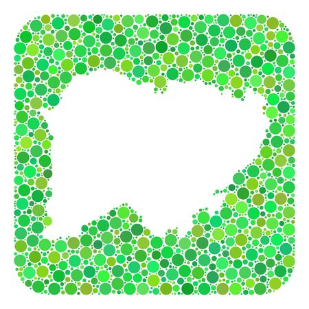 Map of Salamanca Province mosaic created with rounded rectangle and subtracted space. Vector map of Salamanca Province mosaic of circles in various sizes and green color tinges.