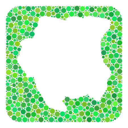Map of Suriname mosaic designed with rounded rectangle and subtracted space. Vector map of Suriname collage of dots in various sizes and green shades. Designed for patriotic and education agitprop. Stock Illustratie