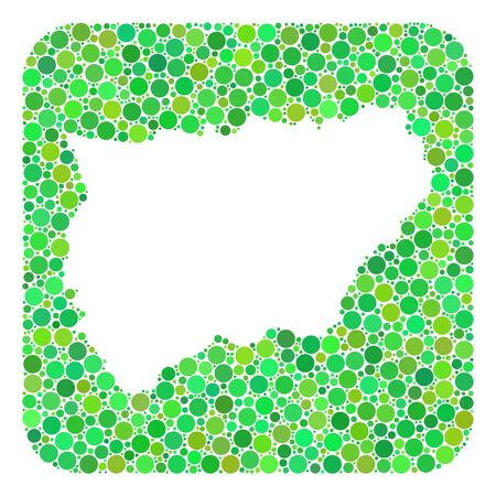 Map of Jaen Spanish Province collage designed with rounded rectangle and subtracted shape. Vector map of Jaen Spanish Province mosaic of circle spots in different sizes and green color tones.
