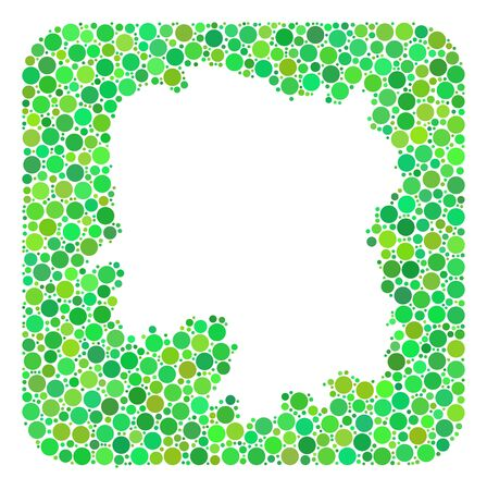 Map of Hunan Province collage created with rounded rectangle and subtracted shape. Vector map of Hunan Province collage of filled circles in variable sizes and green color tinges. Ilustrace