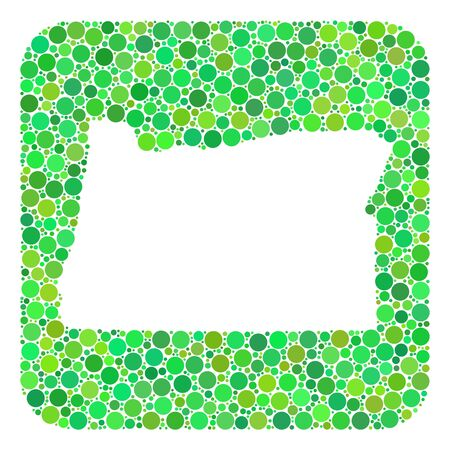Map of Oregon State collage created with rounded rectangle and carved shape. Vector map of Oregon State collage of round items in various sizes and green shades. 矢量图像