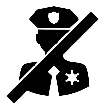 No Police Sheriff vector icon. A flat illustration design used for No Police Sheriff icon, on a white background. 일러스트