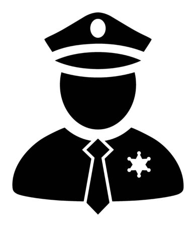Police Guy vector illustration. A flat illustration design used for Police Guy icon, on a white background. Vetores