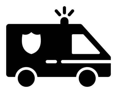 Police Car vector icon. A flat illustration design used for Police Car icon, on a white background.