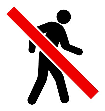 Stop Walking Pedestrian vector illustration. A flat illustration design used for Stop Walking Pedestrian icon, on a white background.