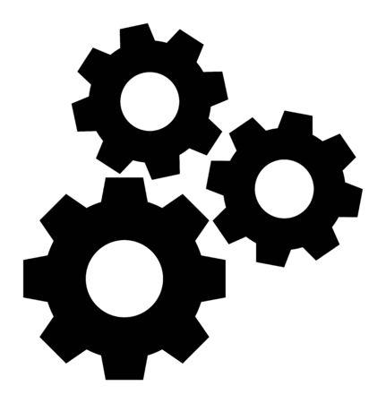 Zahnrad-Mechanismus-Vektor-Symbol. Ein flaches Illustrationsdesign, das für das Zahnradsymbol verwendet wird, auf einem weißen Hintergrund.