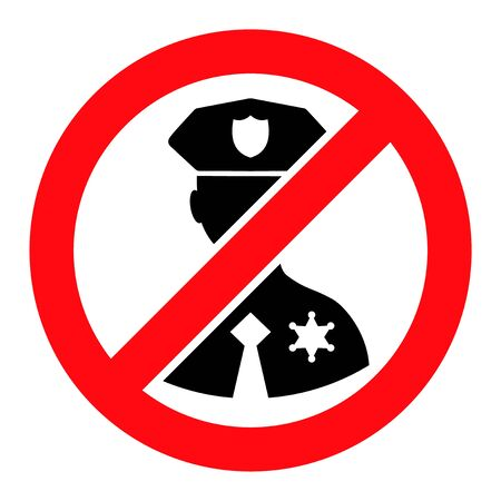 No Police Officer raster illustration. A flat illustration design used for No Police Officer icon, on a white background. 스톡 콘텐츠