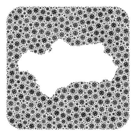Pandemic virus map of Andalusia Province mosaic created with rounded square and carved shape. Vector map of Andalusia Province mosaic of pandemic virus parts in various sizes and grey color tones.