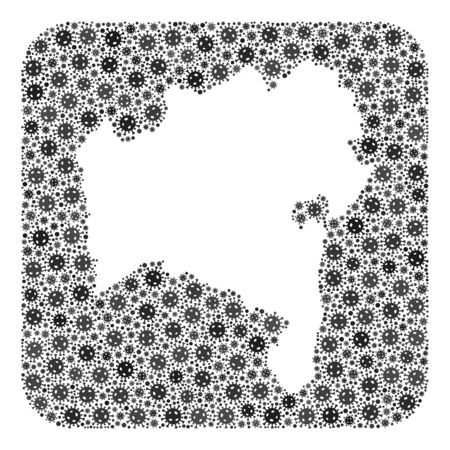 Pandemic virus map of Bahia State mosaic designed with rounded square and subtracted space. Vector map of Bahia State collage of pandemic virus items in variable sizes and grey color hues.