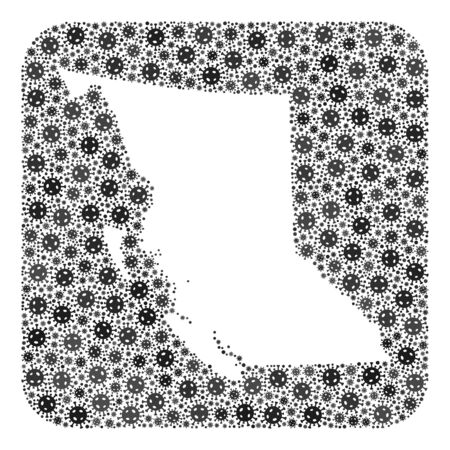 Covid map of British Columbia Province mosaic created with rounded square and subtracted space. 向量圖像