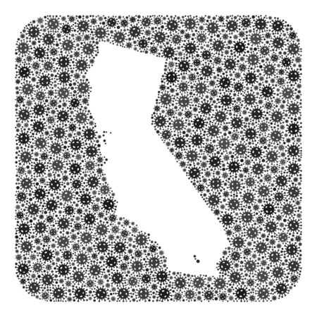 Pandemic virus map of California mosaic designed with rounded square and subtracted space. Vector map of California mosaic of infection virus particles in various sizes and gray color tones.