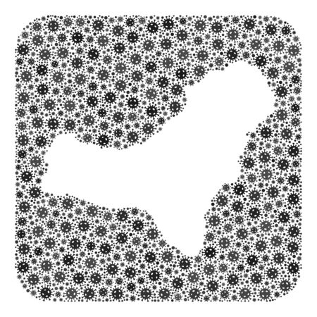 Covid-2019 virus map of El Hierro Island mosaic composed with rounded square and subtracted shape. Vector map of El Hierro Island mosaic of covid-2019 ojects in variable sizes and grey color hues. 矢量图像