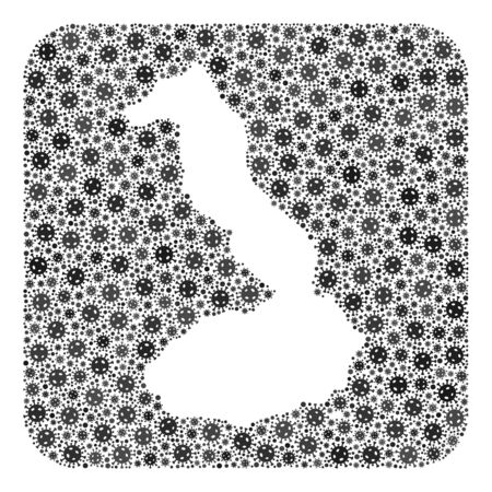 Flu virus map of Galapagos - Isabela Island mosaic designed with rounded square and carved shape.