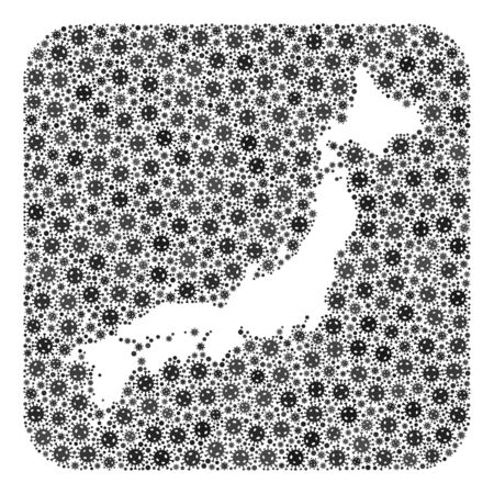 Pandemic virus map of Japan mosaic designed with rounded square and cut out shape. Vector map of Japan collage of pandemic virus items in various sizes and gray color hues.