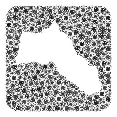Covid-2019 virus map of Kurdistan collage designed with rounded square and cut out shape. Vector map of Kurdistan collage of covid-2019 ojects in different sizes and gray color tinges.