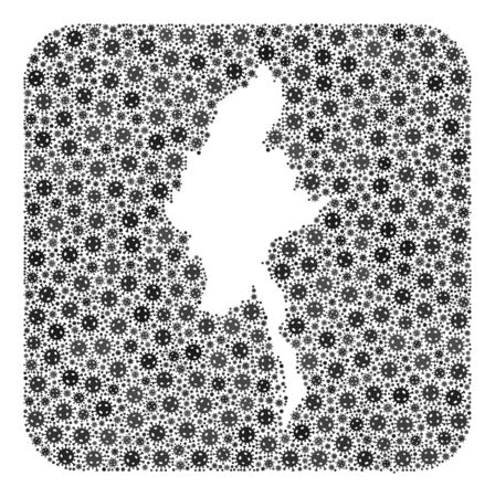 SARS virus map of Myanmar mosaic formed with rounded square and subtracted shape. Vector map of Myanmar mosaic of virus particles in different sizes and grey color hues. Ilustração