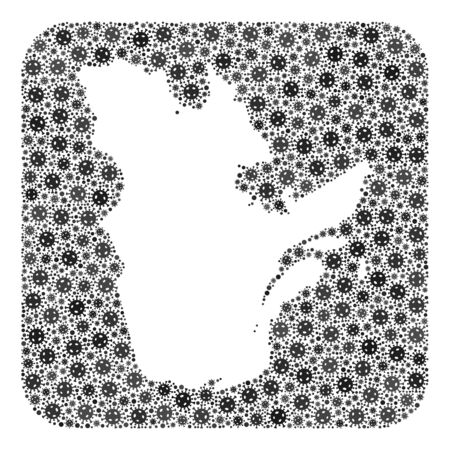 Pandemic virus map of Quebec Province collage designed with rounded square and cut out shape. Vector map of Quebec Province collage of virus particles in various sizes and grey shades.