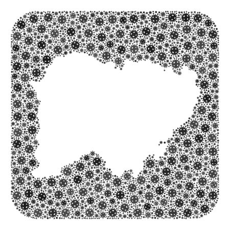 Covid-2019 virus map of Salamanca Province mosaic created with rounded square and hole. Vector map of Salamanca Province mosaic of pandemic virus particles in different sizes and grey color hues.