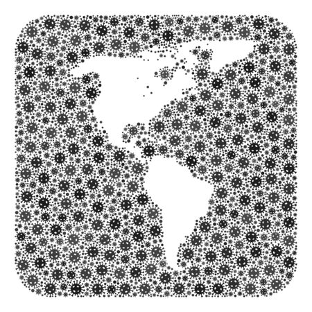 Pandemic virus map of South and North America collage formed with rounded square and carved shape.