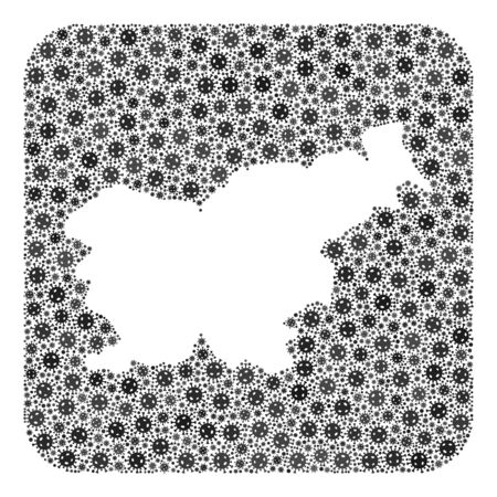 SARS virus map of Slovenia collage created with rounded square and hole. Vector map of Slovenia collage of covid-2019 items in different sizes and grey shades. Created for isolation promotion. Ilustração