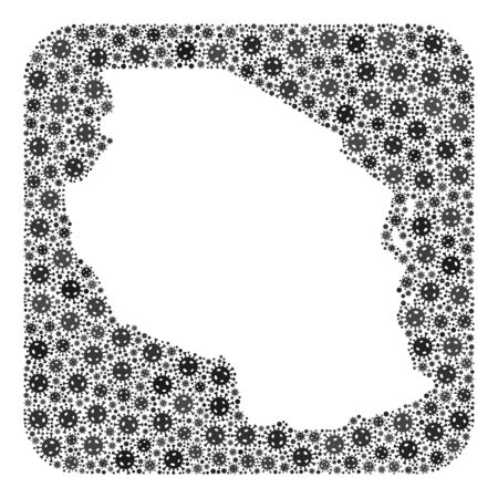 Pandemic virus map of Tanzania mosaic created with rounded square and stencil. Vector map of Tanzania mosaic of pandemic virus particles in various sizes and gray color tints.