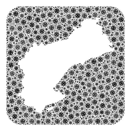 SARS virus map of Tarragona Province collage designed with rounded square and subtracted space. Vector map of Tarragona Province collage of virus parts in various sizes and gray color tints. Ilustração