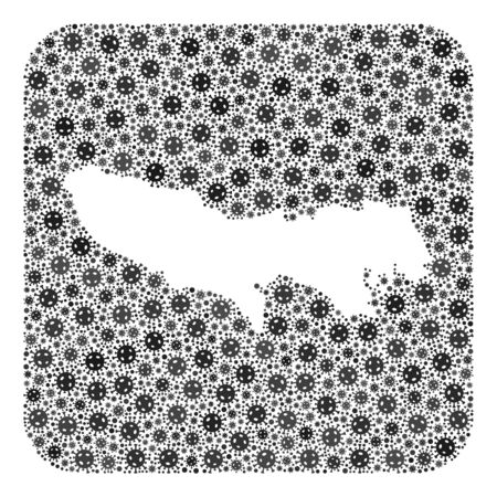 Flu virus map of Tokyo Prefecture mosaic created with rounded square and stencil. Vector map of Tokyo Prefecture composition of virus particles in variable sizes and gray color hues.