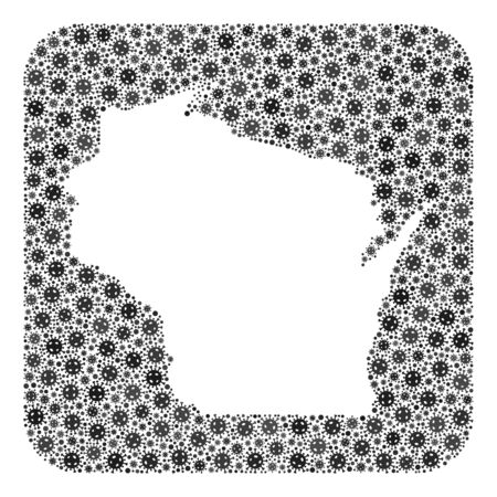 Pandemic virus map of Wisconsin State mosaic designed with rounded square and hole. Vector map of Wisconsin State composition of pandemic virus parts in variable sizes and grey shades. Ilustração