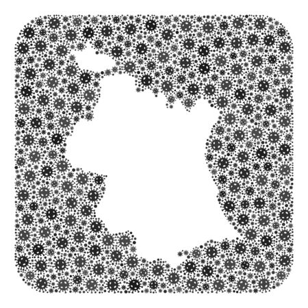 Covid-2019 virus map of Valencia Province mosaic created with rounded square and subtracted space. Vector map of Valencia Province mosaic of virus ojects in various sizes and grey color tinges. Imagens - 149950097