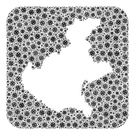 Covid-2019 virus map of Veneto region mosaic created with rounded square and stencil. Vector map of Veneto region mosaic of virus ojects in various sizes and grey color tinges.