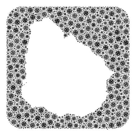 Pandemic virus map of Uruguay mosaic designed with rounded square and carved shape. Vector map of Uruguay mosaic of virus ojects in variable sizes and gray color tinges.
