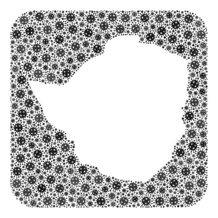 Flu virus map of Zimbabwe mosaic created with rounded square and subtracted shape. Vector map of Zimbabwe mosaic of flu viral ojects in variable sizes and grey color tints. Ilustração
