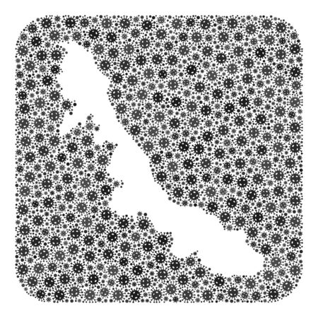 Pandemic virus map of Veracruz State collage created with rounded square and subtracted shape. Vector map of Veracruz State collage of pandemic virus ojects in variable sizes and grey color tinges.