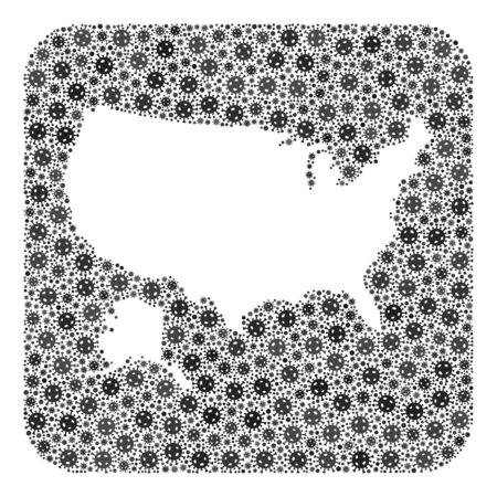 Covid-2019 virus map of USA and Alaska collage designed with rounded square and hole. Vector map of USA and Alaska collage of covid-2019 ojects in various sizes and gray color tones. Ilustração
