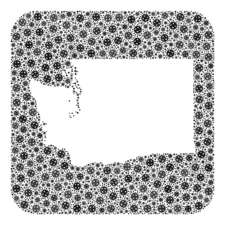 Covid-2019 virus map of Washington State collage created with rounded square and subtracted shape. Vector map of Washington State mosaic of covid-2019 items in variable sizes and gray color hues. Imagens - 149950101