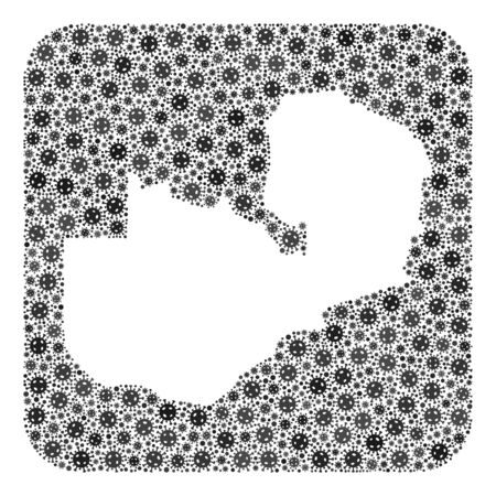 Coronavirus map of Zambia collage designed with rounded square and subtracted shape. Vector map of Zambia collage of infection virus ojects in variable sizes and gray shades.