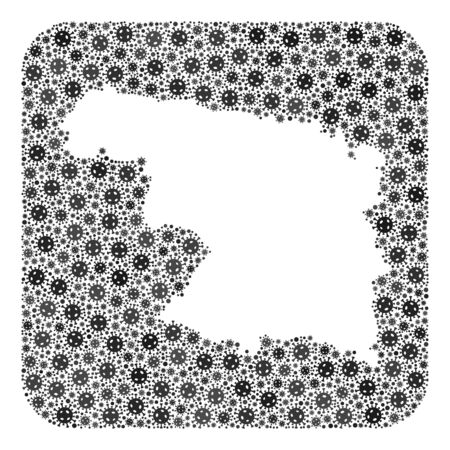 Covid-2019 virus map of Zamora Province collage created with rounded square and subtracted space. Vector map of Zamora Province collage of covid-2019 particles in variable sizes and grey color tones.