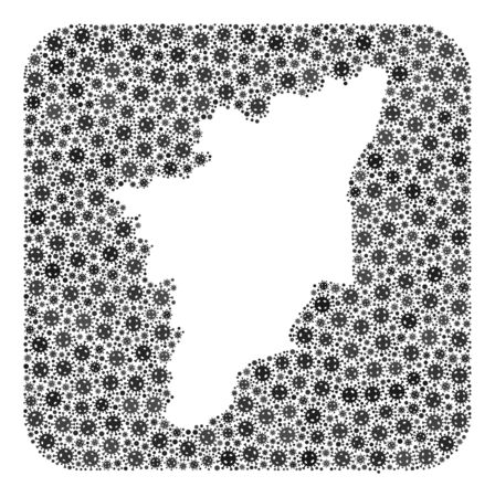 Flu virus map of Tamil Nadu State collage created with rounded square and carved shape. Vector map of Tamil Nadu State composition of infection virus items in different sizes and gray color tints. Imagens - 149935144