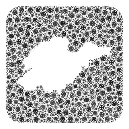 Flu virus map of Shandong Province mosaic created with rounded square and cut out shape. Vector map of Shandong Province mosaic of pandemic virus ojects in different sizes and grey color tinges. Ilustração
