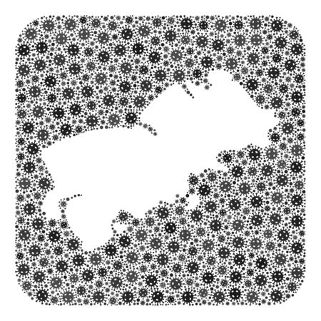 Covid-2019 virus map of Shikotan Island mosaic designed with rounded square and cut out shape. Vector map of Shikotan Island composition of pandemic virus ojects in various sizes and grey color tints. 스톡 콘텐츠 - 149950103