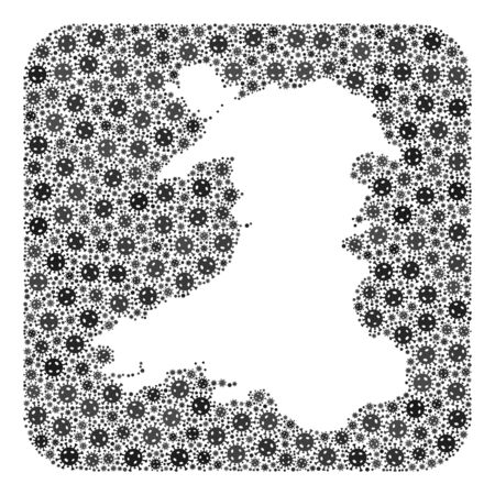 Flu virus map of Wales mosaic designed with rounded square and subtracted space. Vector map of Wales collage of flu viral ojects in various sizes and grey color tints. Designed for medicine agitprop.