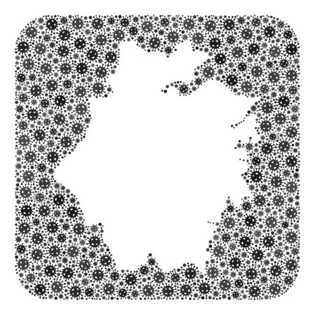 SARS virus map of Zhejiang Province collage created with rounded square and hole. Vector map of Zhejiang Province collage of pandemic virus parts in various sizes and gray shades.