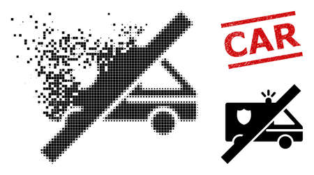 No police car icon in dispersed, pixelated halftone style and Car scratched stamp seal. Points are composed into vector dissolving no police car icon.